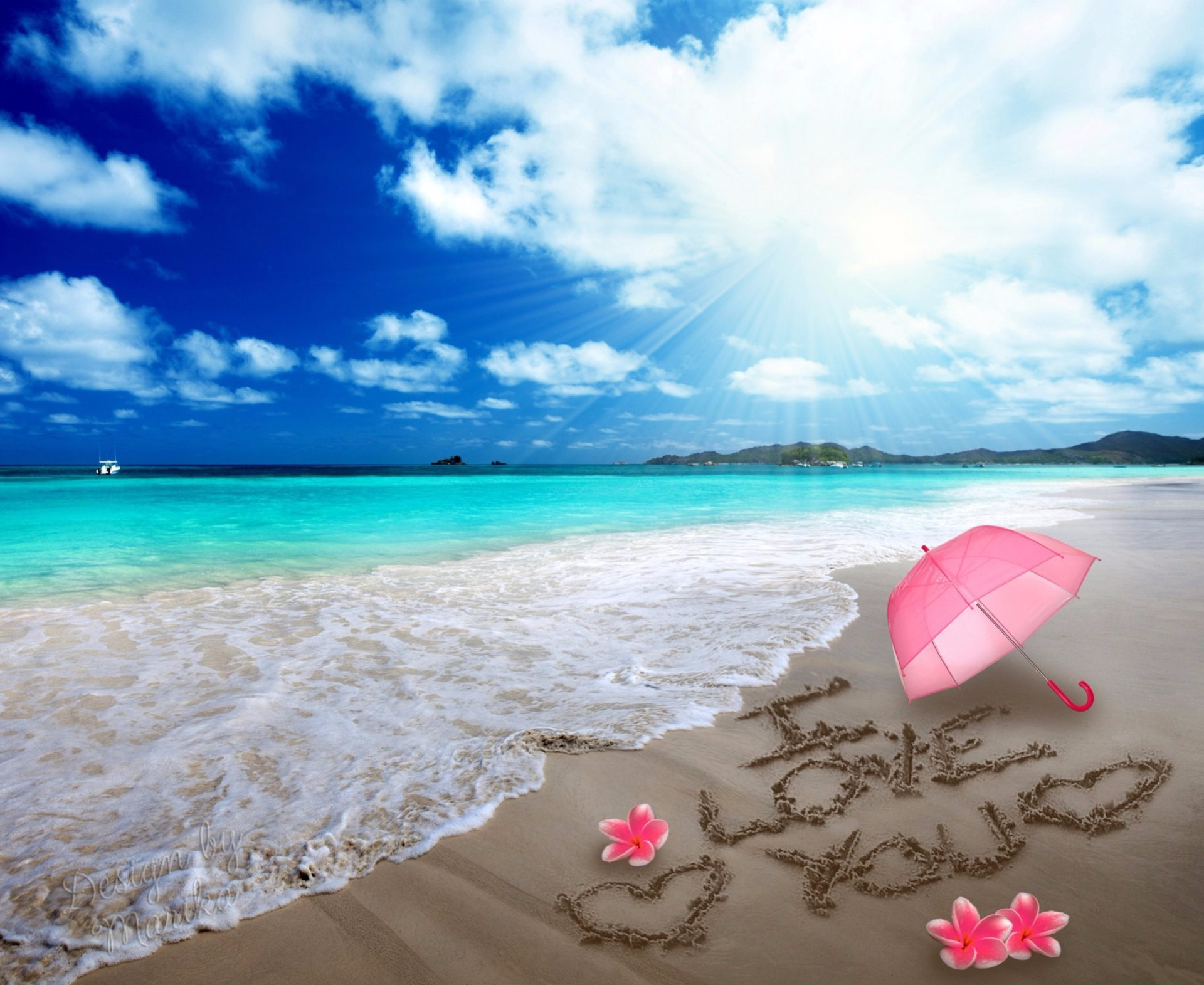 playa-romatica-frase-iloveyou